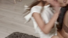 Skinny teen model slapped around and toughly fucked in ass