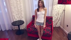 Thin petite Russian teen casting interview.