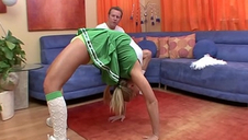 Cute youthful cheerleader Ally Kay with perky tits gets fucked in the shaved snatch